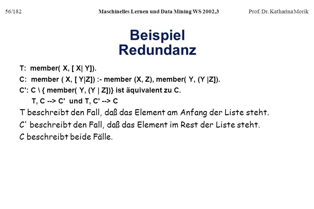 Beispiel Redundanz T: member( X, [ X| Y]). C: member ( X, [ Y|Z]) :- member (X, Z), member( Y, (Y |Z]).